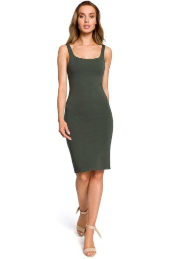 Jednoduché letní šaty MOE M414 zelené