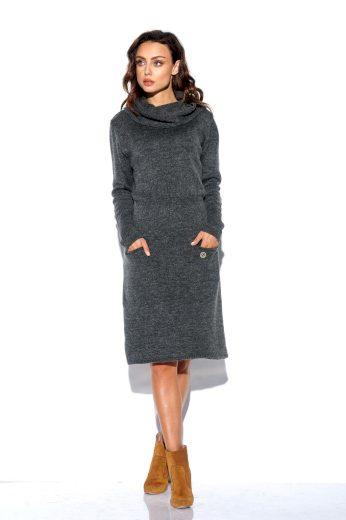 Pletené šaty s rolákem Lemoniade LS257 tmavě šedé