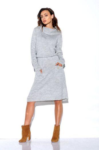 Pletené šaty s rolákem Lemoniade LS257 světle šedé