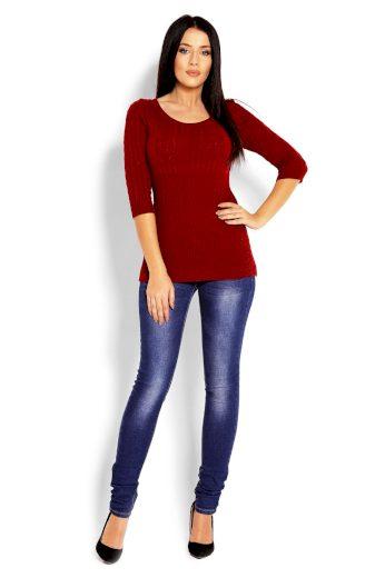 Úzký svetr s copánky PeeKaBoo 70008 bordó