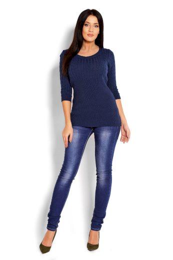 Úzký svetr s copánky PeeKaBoo 70008 tmavě modrý