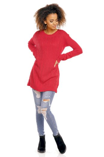 Lehký svetr s copánky PeeKaBoo 70007 červený