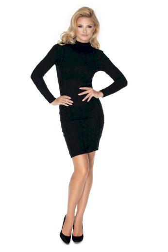 Pletené šaty s rolákem PeeKaBoo 40037 černé