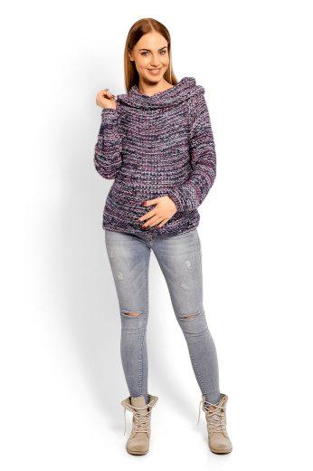 Těhotenský svetr se širokým rolákem PeeKaBoo 60001 tmavě šedý
