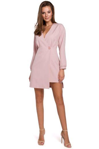 Elegantní sakové šaty Makover K034 růžové