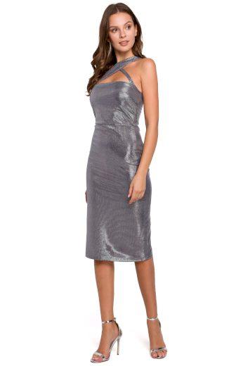 Metalické šaty Makover K016 šedé