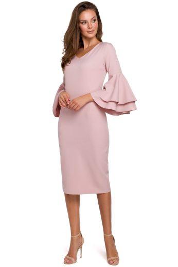 Šaty s volánovými rukávy Makover K002 růžové