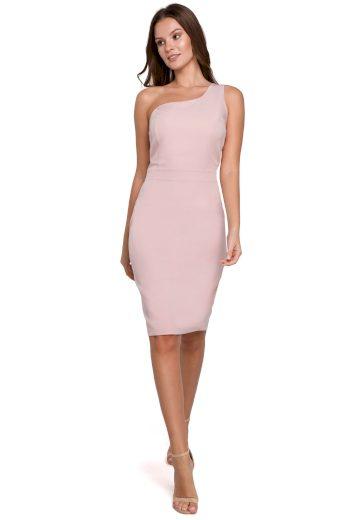 Šaty na jedno rameno Makover K003 růžové