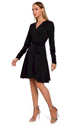Elegantní zavinovací šaty MOE M487 černé
