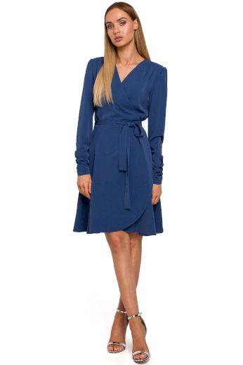Elegantní zavinovací šaty MOE M487 modré