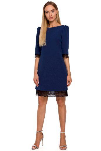 Společenské šaty s krajkou MOE M489 modré