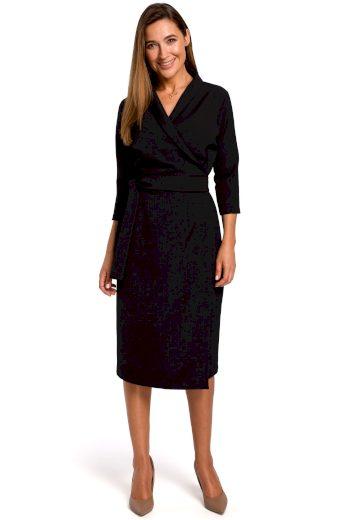 Elegantní zavinovací šaty Style S175 černé