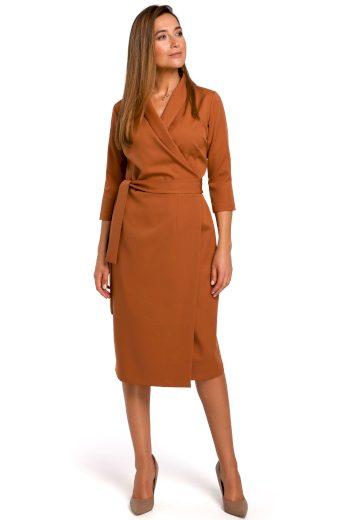 Elegantní zavinovací šaty Style S175 zázvorové