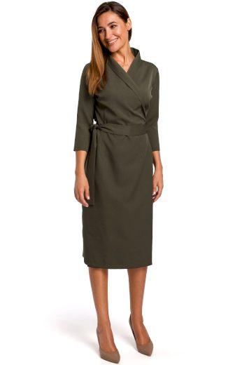 Elegantní zavinovací šaty Style S175 khaki