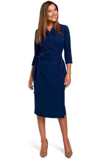 Elegantní zavinovací šaty Style S175 modré