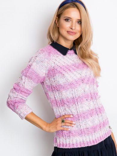 Růžový melírovaný svetr Latynka Rave