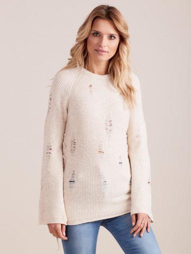 Béžový svetr s dírami Miss Bonni