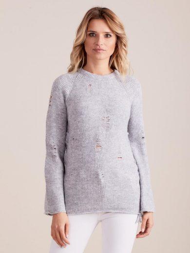 Šedý svetr s dírami Miss Bonni