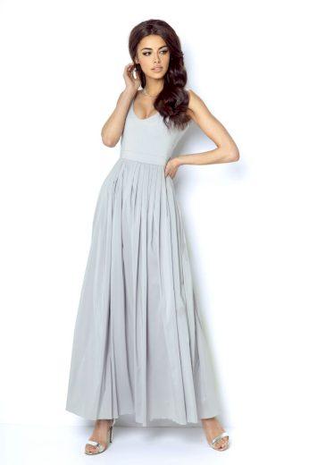 Dlouhé společenské šaty Ivon Andrea šedé