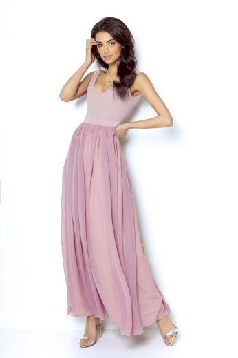 Dlouhé společenské šaty Ivon Andrea růžové