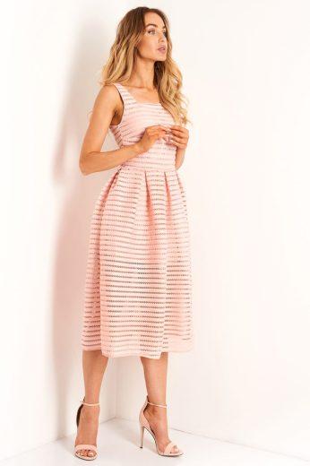 Koktejlové nabírané síťované šaty Lemoniade L398 růžové