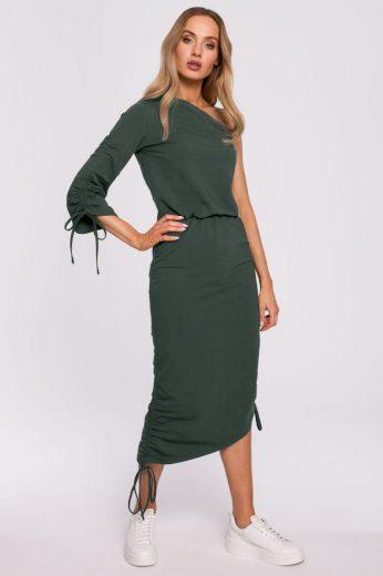 Šaty na jedno rameno MOE M580 zelené