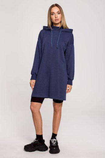 Sportovní bavlněné šaty MOE M615 modré
