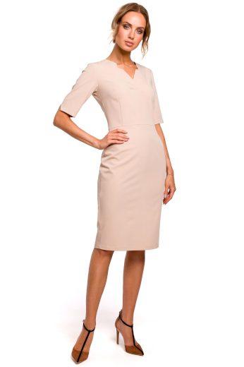 Elegantní šaty s atypickým výstřihem MOE M455 béžové