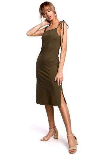 Letní šaty na ramínka MOE M516 khaki