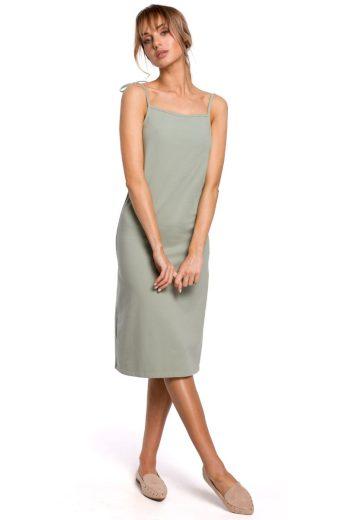 Letní šaty na ramínka MOE M516 pistáciové
