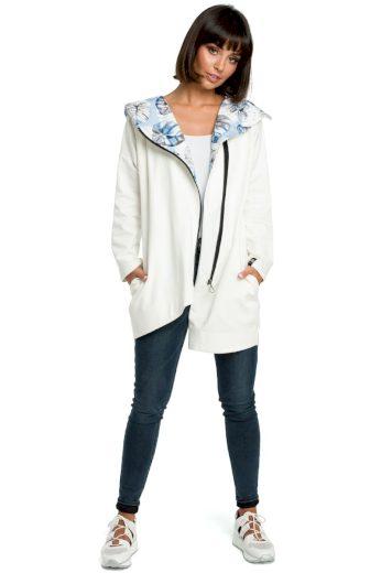 Pohodlný sportovní kabátek Be B091 bílý