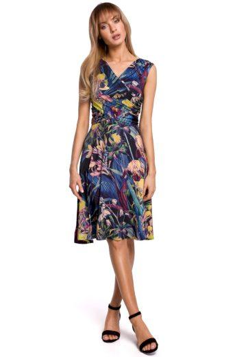 Květované šaty MOE M499 modré