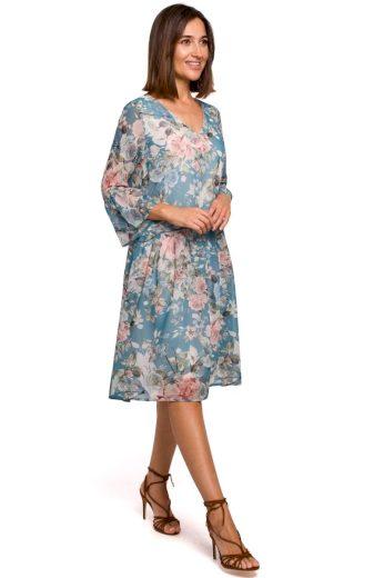 Pohodlné letní šaty Style S214 modré