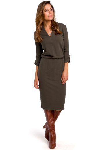 Elegantní šaty Style S194 olivové