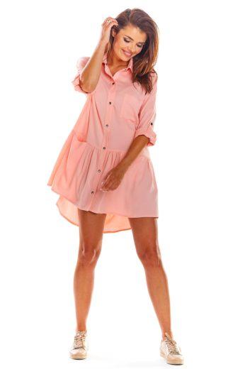 Košilové minišaty Awama A300 růžové