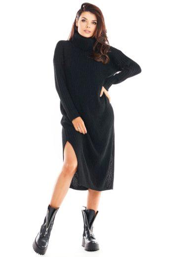 Pletené šaty s rolákem Awama A394 černé
