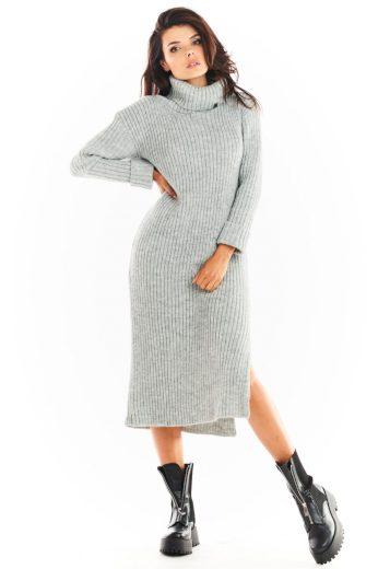 Pletené šaty s rolákem Awama A394 šedé