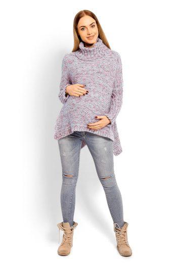 Těhotenský svetr s rolákem PeeKaBoo 60002 modrý