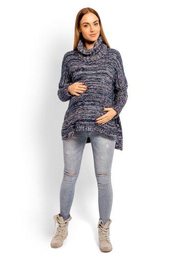 Těhotenský svetr s rolákem PeeKaBoo 60002 tmavě modrý