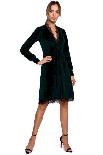 Společenské sametové šaty MOE M563 zelené