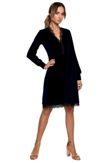 Společenské sametové šaty MOE M563 modré