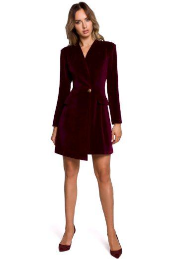 Společenské sametové šaty MOE M562 bordó