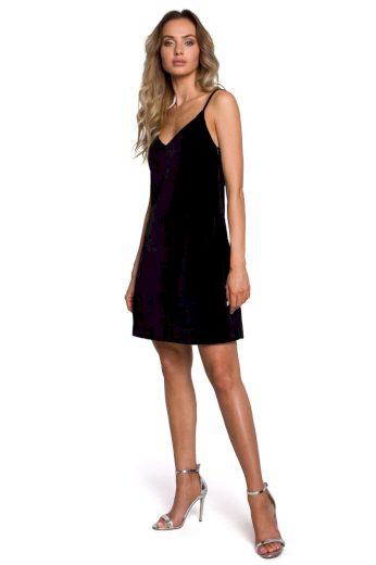 Společenské sametové šaty MOE M560 černé