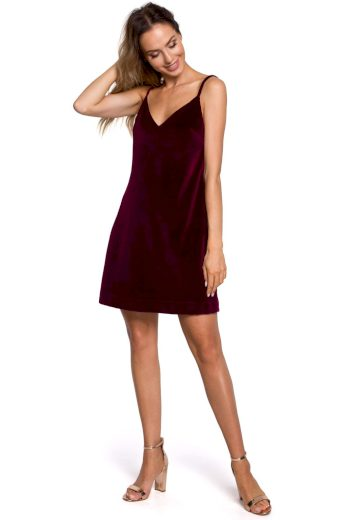 Společenské sametové šaty MOE M560 bordó