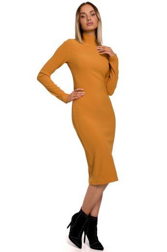 Elegantní úpletové šaty MOE M542 žluté