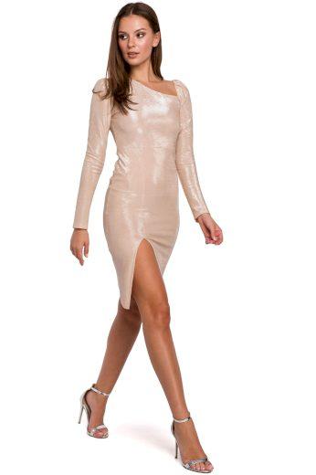 Metalické šaty Makover K017 béžové