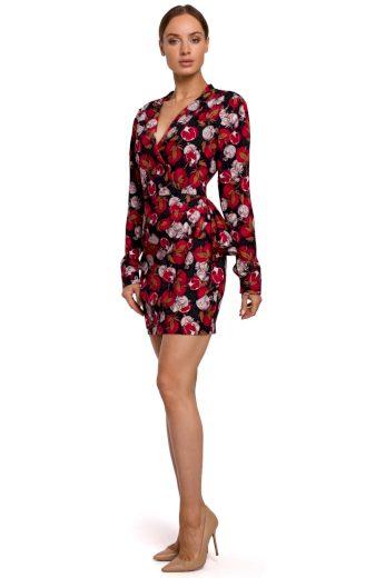 Elegantní zavinovací šaty MOE M532 květované model 1