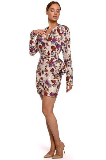 Elegantní zavinovací šaty MOE M532 květované model 2