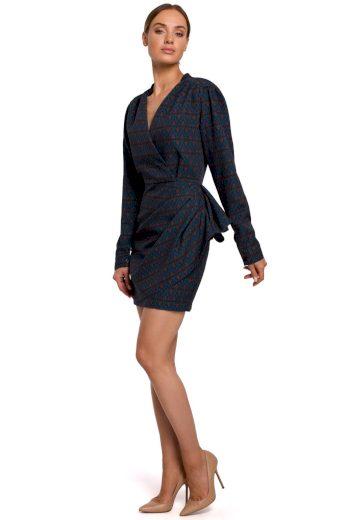 Elegantní zavinovací šaty MOE M532 modré