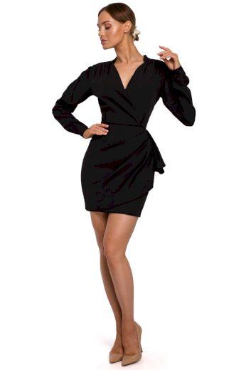 Elegantní zavinovací šaty MOE M531 černé